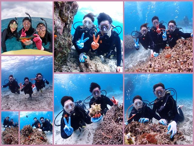 沖縄 サンゴが沢山のポイントでダイビング&シュノーケルツアー 2018年3月8日のお客様