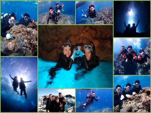 沖縄 ダイビング&シュノーケル ボートで人気の青の洞窟へご案内 2018年3月11日のお客様