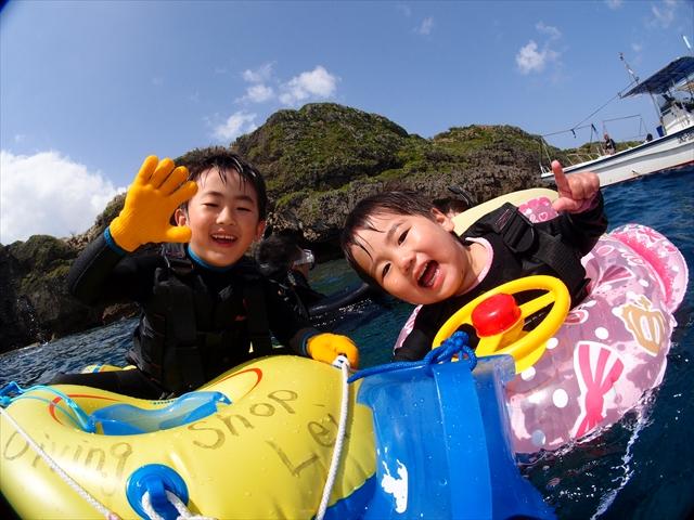 春休み 沖縄でダイビング&シュノーケル&マーメイド体験!!! 2018年4月1日のお客様