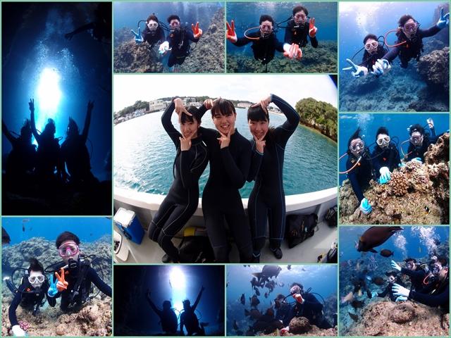 沖縄 人気観光スポット青の洞窟で体験ダイビング  2018年6月6日のお客様